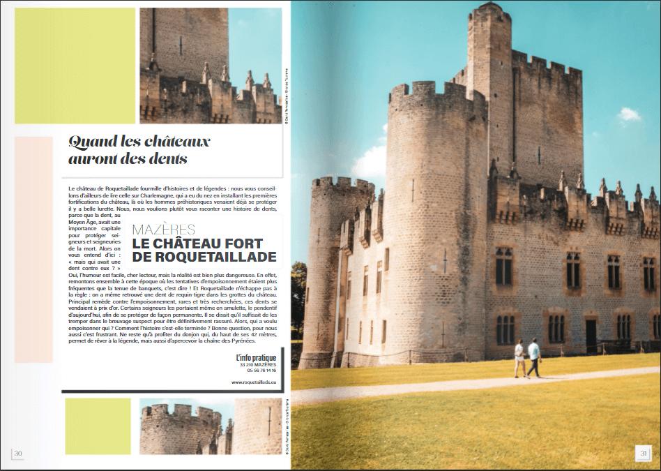 Brochure du chateau de Roquetaillade correspondant au podcast fait par Getasound pour Gironde Tourisme